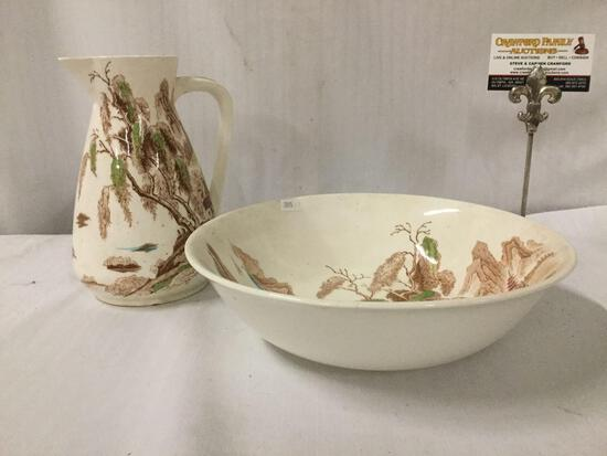 Vintage Nasco Sayonara Pitcher and Bowl. Some chipping in bottom of pitcher. Approx 11x11x3 inches.