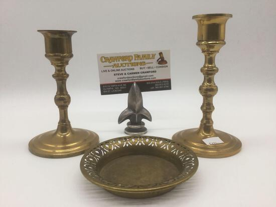 Two brass candle sticks & a brass S. Sternau & Co. ashtray, from New York.