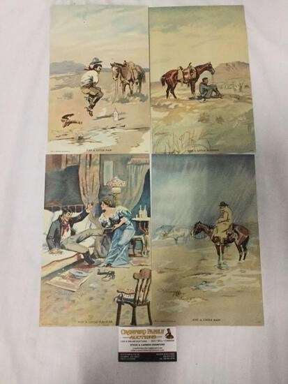 Collection of four Charles Russell prints. Sunshine, rain, pleasure, and pain.