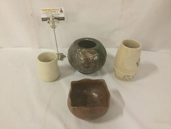 Four pieces of stoneware pottery, Inc. two bowls, a cup & a vase.