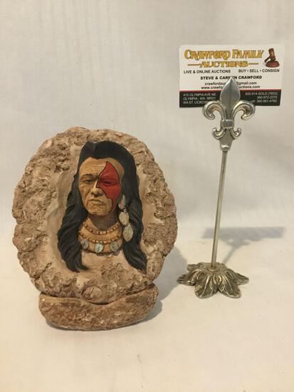 Native American art by Albert Alfaro Jr. - bust with stand - replica of an original