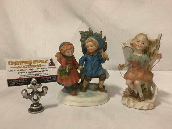 2x collectibles; porcelain girl jumping rope flower vase, Avon Christmas Memories 1981 figurine