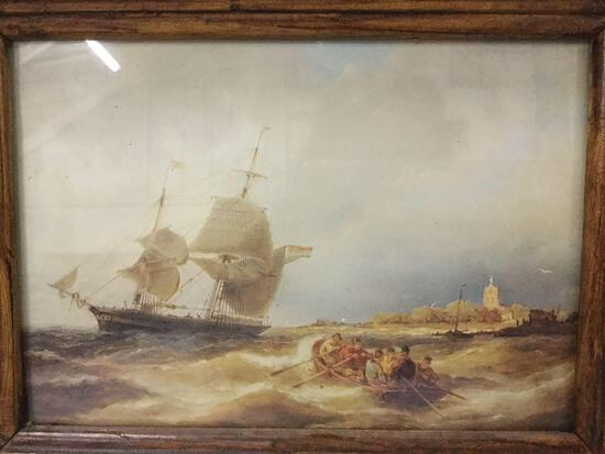 Vintage print of rowboat and ships. Measures approx 9x7 inches.