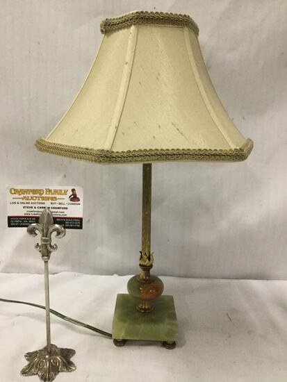 Small metal and composite lamp w/elegant buff colored shade, tested and working.