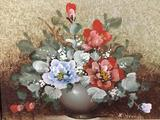 Original still life oil painting of flowers signed by artist. Measures approx 17x15 inches.
