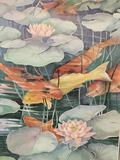 Poster print of koi fish painting by Leslie Lane, rolled in tube. approx 36x24 inches.