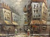 Framed original oil painting of street scene, unsigned. approx 14.5x12.5 inches.