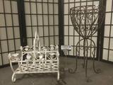 Two vintage metal pieces, incl. a rack/basket w/handle & flower pot holder.