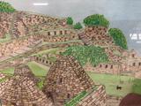 framed colored pencil drawing of ancient Peruvian ruins by artist Grady Kelly-Post, Michu Piccu Peru