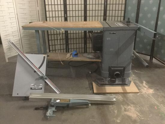 Delta Unisaw wood/metal saw table No. 34-801 w/Delta sliding attachment No.34-55, Delta Unifence +
