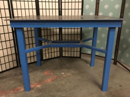 Steel top shop table w/welded aluminum base, approx. 48x36x36 inches.