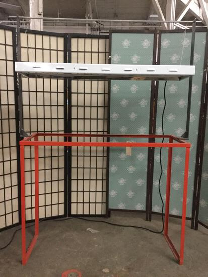 metal shop rack w/ hanging Intertek grow light fixture No.3166813, tested & working, 70x50x16.5 in.