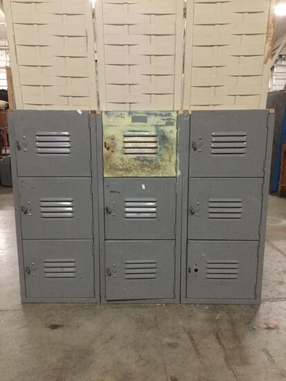 Metal Locker unit with nine lockers. Approx 45x36x15.5 inches