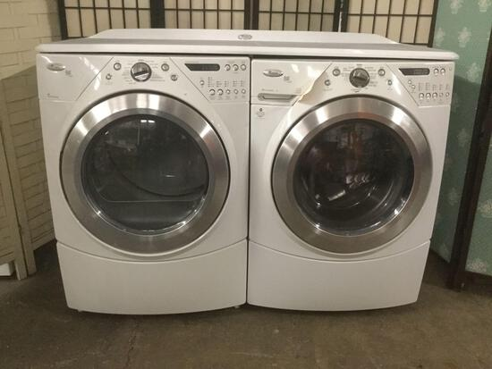 Whirlpool Electric Duet Steam Resource Saver washer & TumbleFresh dryer w/tabletop cover,