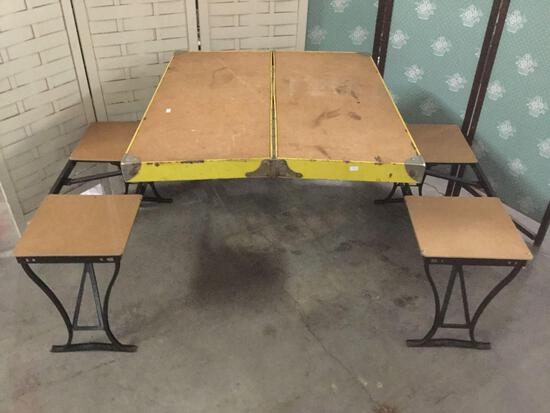 Vintage fold out Handy Table And Chair set picnic bench from the Milwaukee Stamping Co.
