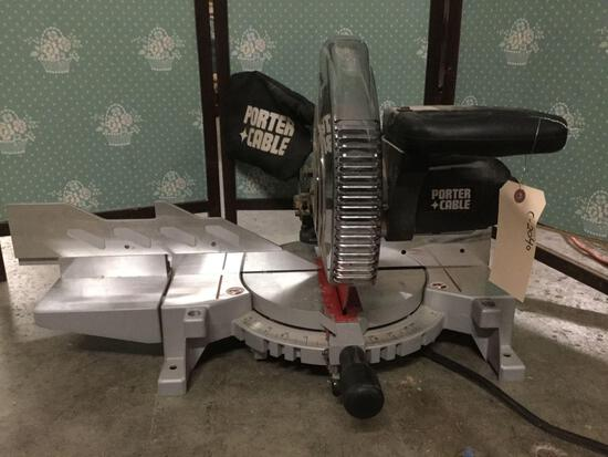 Porter cable 3700L 10 inch compound power miter saw. Tested and working. Approx 28x26x18 inches.