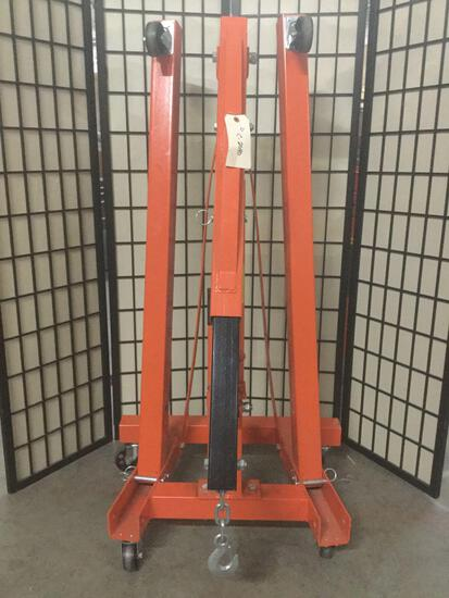 Large Central Hydraulics 1-Ton foldable shop crane, tested & working, approx. 32x30x56 inches.
