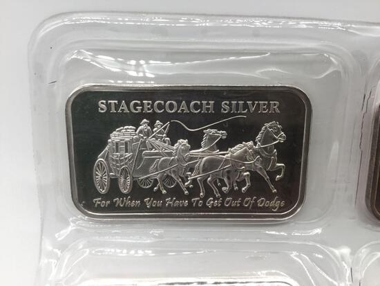 Stagecoach Silver 1ozt 0.999 fine silver ingot.