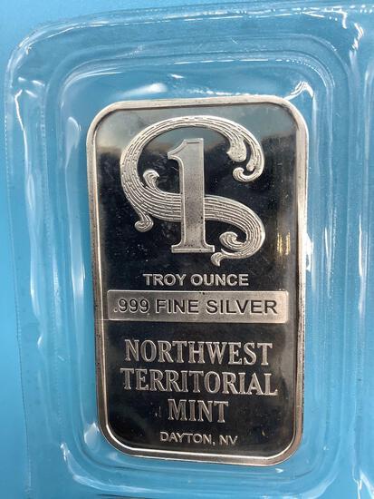 Northwest Territorial Mint 1ozt 0.999 fine silver ingot.