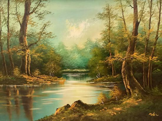 Framed vintage original nature scene oil painting signed by artist Peter, approx 43 x 32 inches.