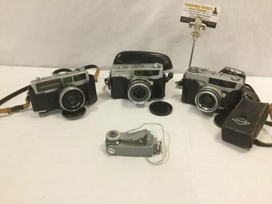 3 Japanese Petri cameras: Petri Prest rare 35mm rangefinder 1:2.8, 7 S Circle-Eye, Blue-MAGIC-scope+
