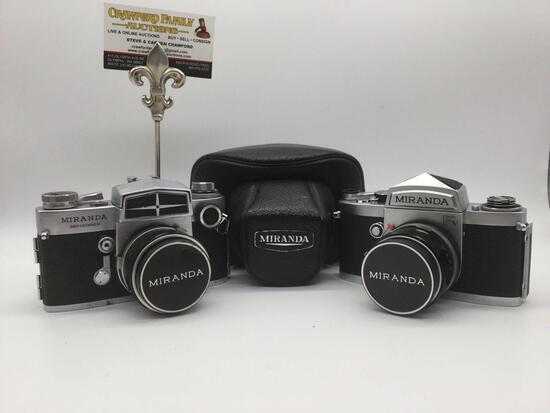 2 Miranda film cameras: Sensorex 50mm auto 1:1.8 No.770558 w/case, Miranda FV 1:1.9 Auto 35mm film