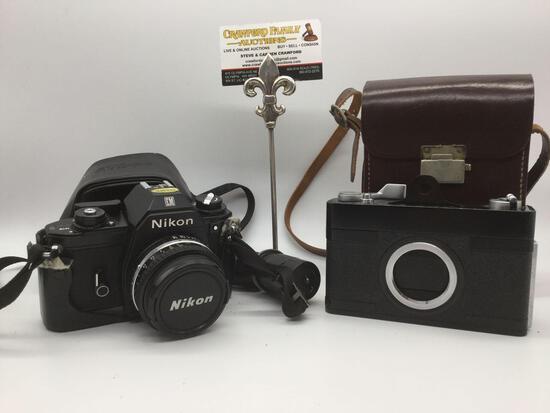 2 vintage Nikon cameras: Nikon EM M90 35 mm Metal Body Lens Series 50mm 1:1.8, vintage Nikon M-35
