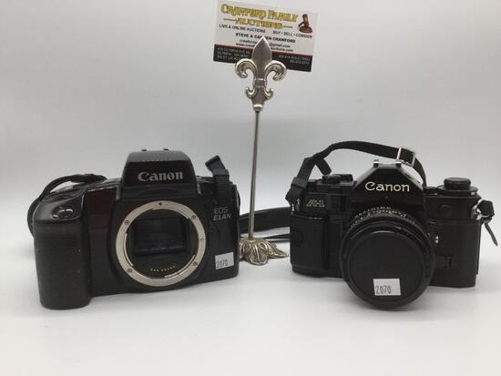 Japanese Canon A-1 FD 50mm 1:1.8 film camera No.1082858 (tested/working) & Canon EOS ELAN No.1158163