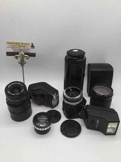 5 camera lenses /2 flash: Canon FD 28mm 1:2.8 lens, Quantaray/Minolta AF 28x-200mm, Maxxum AF Zoom +