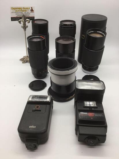 6 camera lens /2 flash: Vivitar 75-205mm 1:3.8, Osawa MC 1:4.5 70-220mm Macro lens, Albinar ADG 80 +