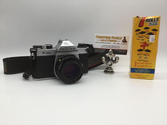 Asahi Pentax K1000 50mm 1:2 film camera No.7961228 w/ 2 rolls of film, tested & working