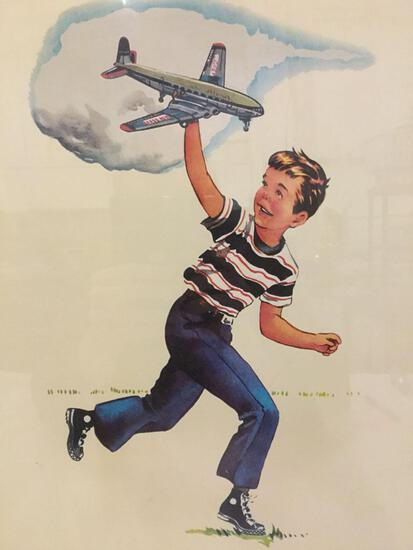 Framed vintage print of a boy playing w/ toy plane - The Airplane - unsigned, approx. 23x17x1 inches