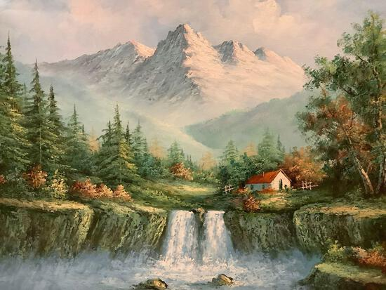 Framed modern original oil painting of cottage home/mountain scene signed by artist Hamilton