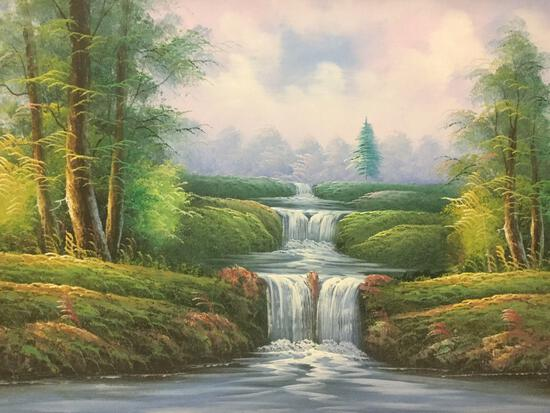 Original unsigned waterfall scene oil painting in ornate gold tone wooden frame, approx. 42x31x3 in.
