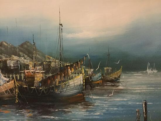 Vintage original oil painting of ocean scene signed by artist M. Edmond. Approx. 44x32x2 inches.