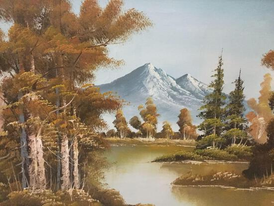 Framed original mountain landscape oil painting signed by unidentified artist. Approx 42x30x1 inches