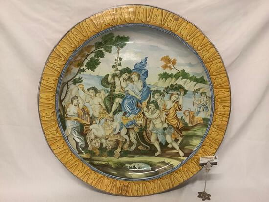 Large Italian hand painted 37 inch diameter plate with Pompeii scene, signed by artist.