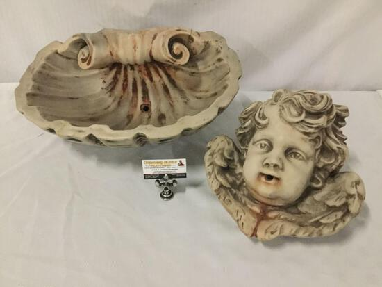 Antique c. 1860s French marble wall mount cherub fountain.