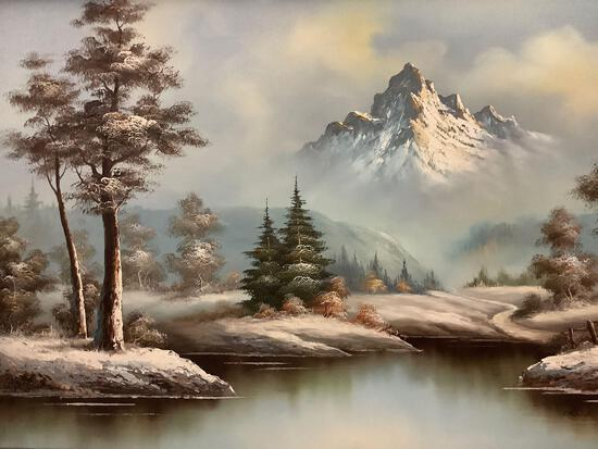 Framed original winter/ mountain scene oil painting signed by artist Frank Jayson, approx 44x32 inch