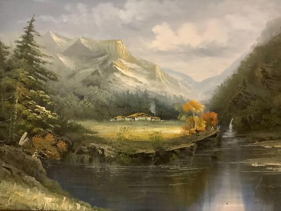 Framed original mountain homestead oil piainting signed by artist L. Cole, approx 44x32 inches.