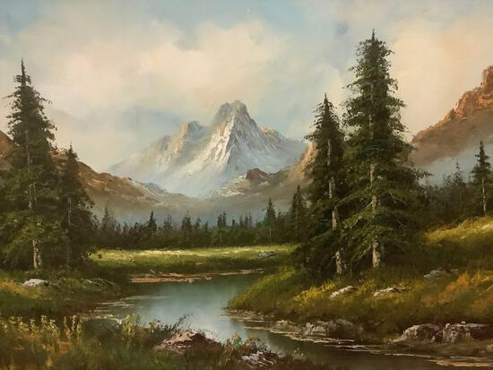 Framed original mountain / nature scene oil painting signed by artist Stone, approx 43x31 inches.