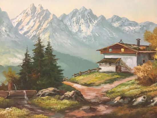 Framed original mountain landscape oil painting signed by artist D. Bles. Approx. 42x30x1 inches.