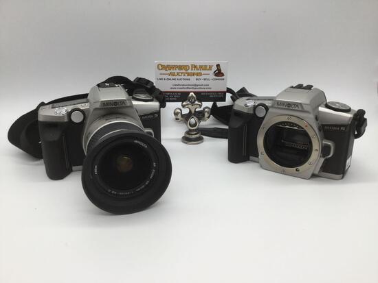 2 Japanese Minolta digital cameras: Maxxum 5 w/ Minolta AF Zoom 28-80mm lens + Maxxum 5 w/out lens