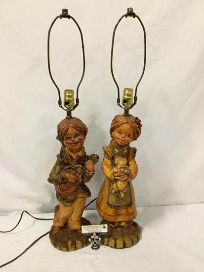 Pair of plaster House of Lamps lamps w/ children with cat & guitar design. Tested/working. No shades