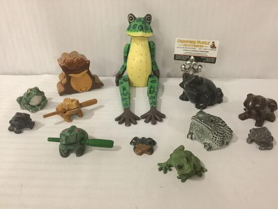 12 frog collectible figurines, percussion instruments, wooden frog puppet, wood puzzle box & more+