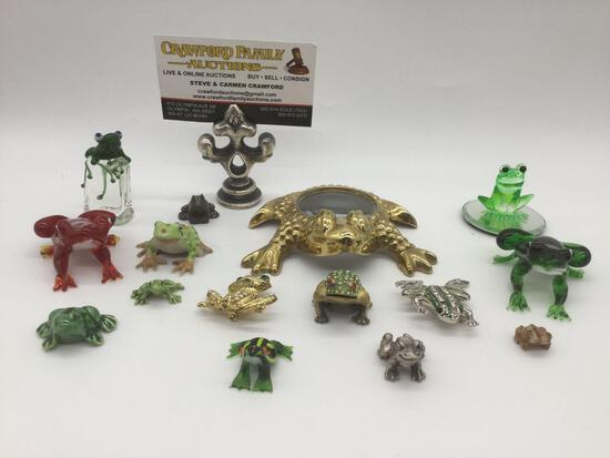 15 small decorative frog figurines & trinkets, largest approx. 2.5x2x1 inches.