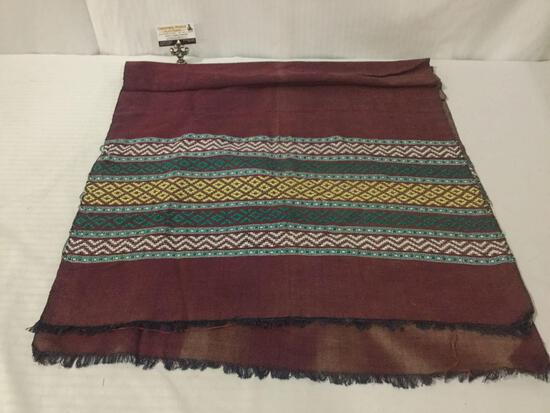 Egyptian hand loomed shawl, some fraying edges, see pics, approx. 80x20 inches.