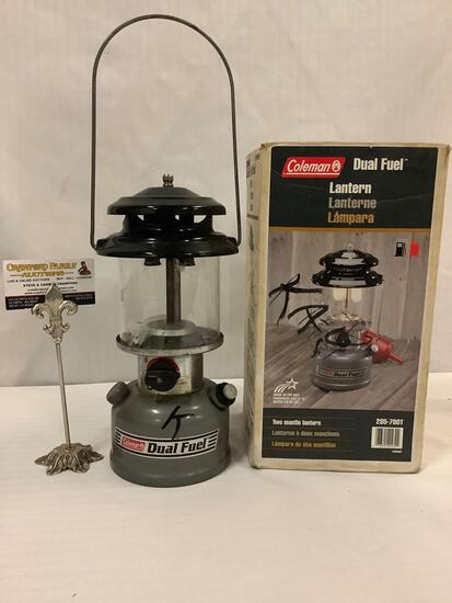 Coleman Dual Fuel Two Mantle Lantern (285-700T) with original box , approx 19 x 7 inches