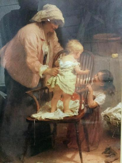 Large framed print of woman with children by artist John Morgan. Approx 39x31 inches.