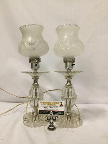 Pair of glass table lamps with Hurricane style shades. Tested and working. approx 15x5x5 inches.
